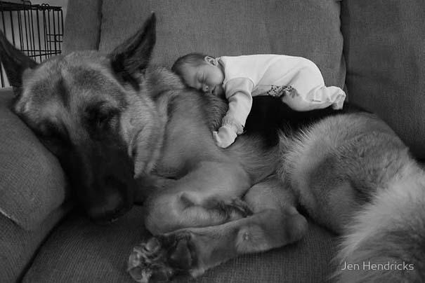 Μωρά με τον μεγάλο σκύλο τους (1)