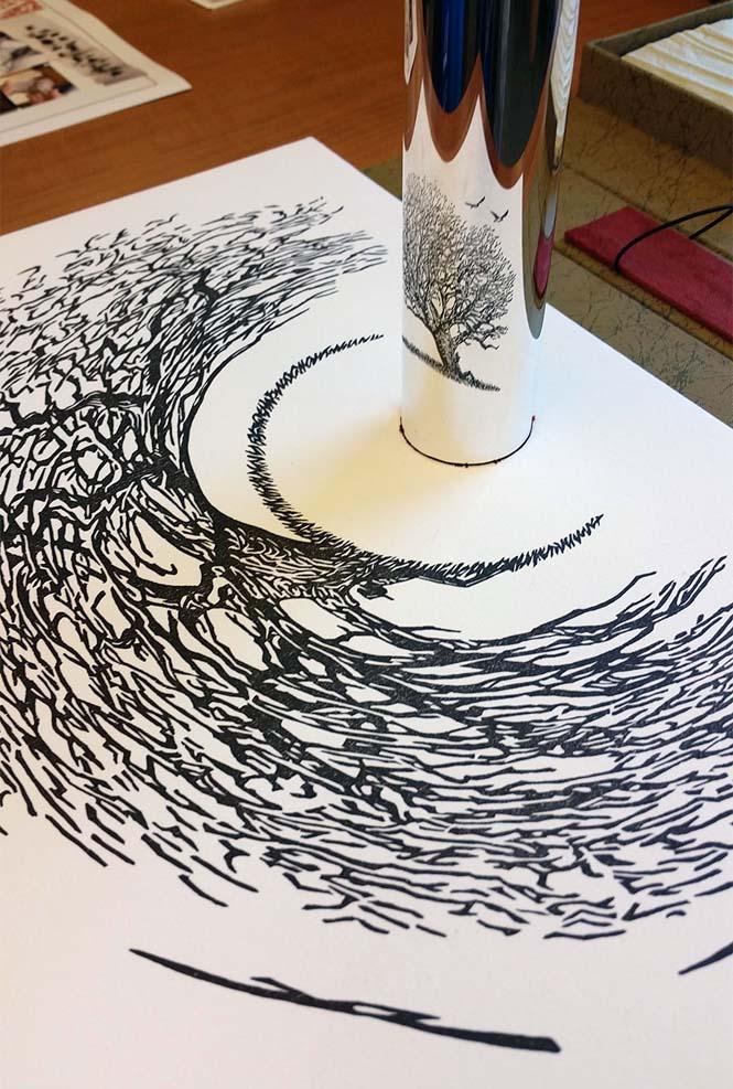 Έργα τέχνης που είναι ορατά μόνο με τη βοήθεια ενός κυλινδρικού καθρέπτη (3)