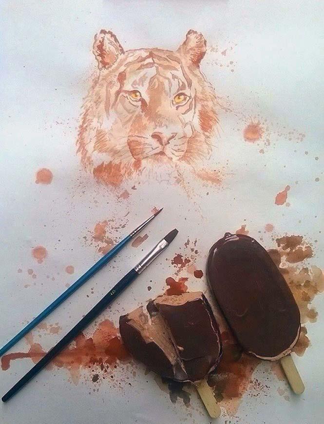 Καλλιτέχνης ζωγραφίζει με παγωτά αντί για μπογιές (3)