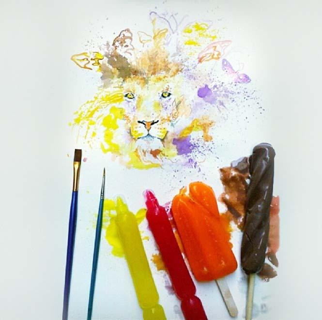 Καλλιτέχνης ζωγραφίζει με παγωτά αντί για μπογιές (4)