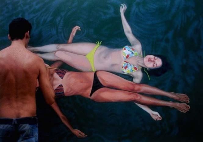 Κολυμβητές σε υπερρεαλιστικούς πίνακες ζωγραφικής (2)