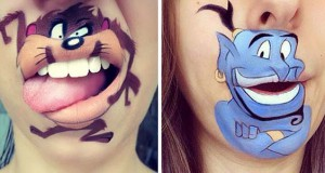 Makeup artist μετατρέπει τα χείλη της σε διασκεδαστικά καρτούν