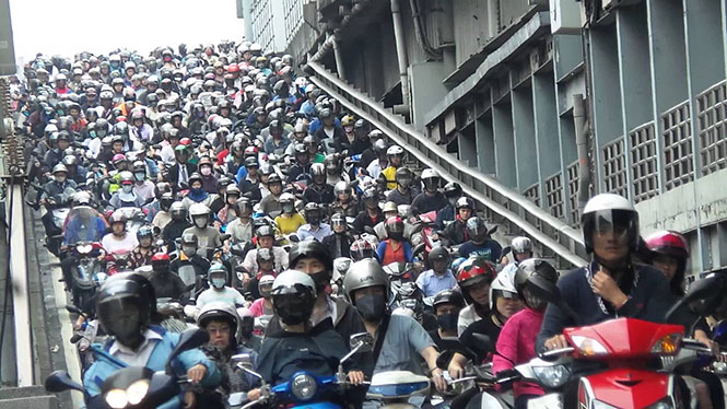 Ποτάμι από scooters στην Ταϊβάν