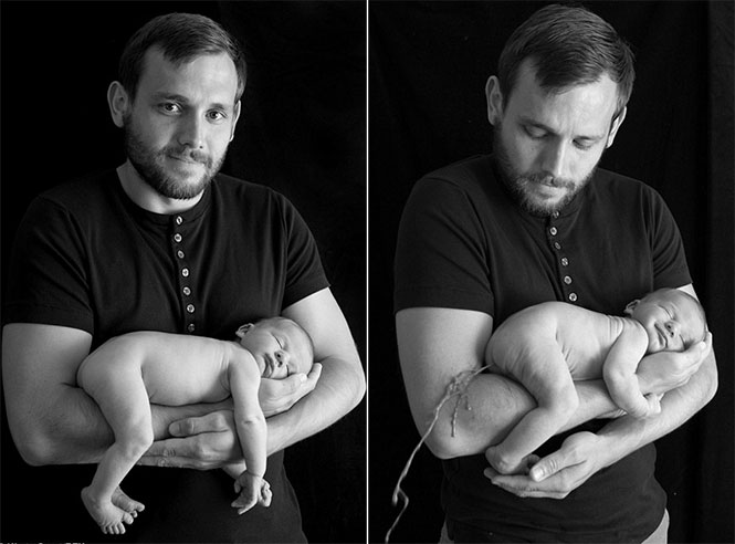 Μωρό 4 ημερών κοιμάται στην αγκαλιά του πατέρα του, όταν ξαφνικά... | Φωτογραφία της ημέρας
