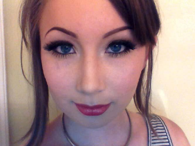 Πριν και μετά το μακιγιάζ: Η εντυπωσιακή μεταμόρφωση μιας κοπέλας (2)