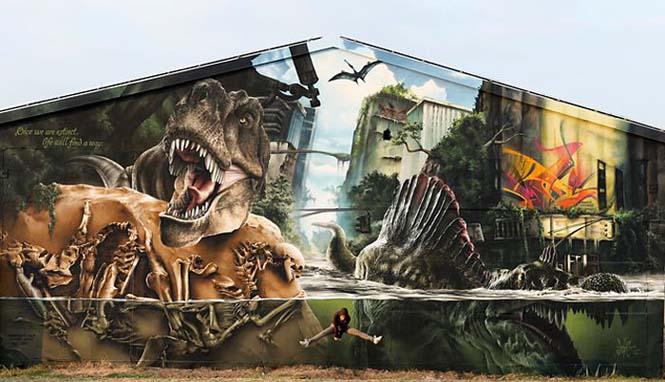 Εντυπωσιακό graffiti Jurassic Park (1)