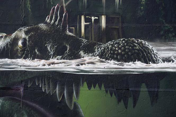 Εντυπωσιακό graffiti Jurassic Park (2)