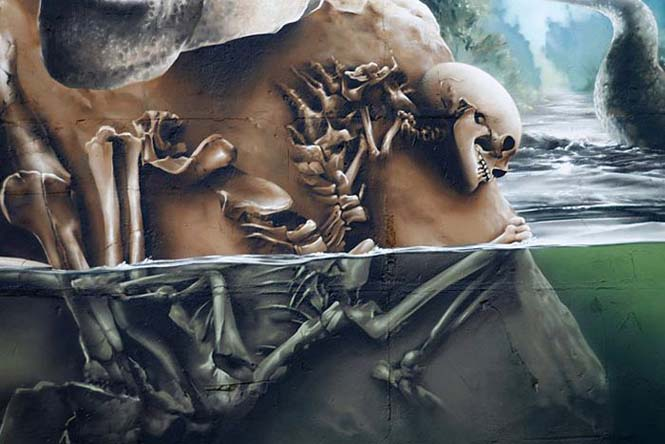 Εντυπωσιακό graffiti Jurassic Park (7)