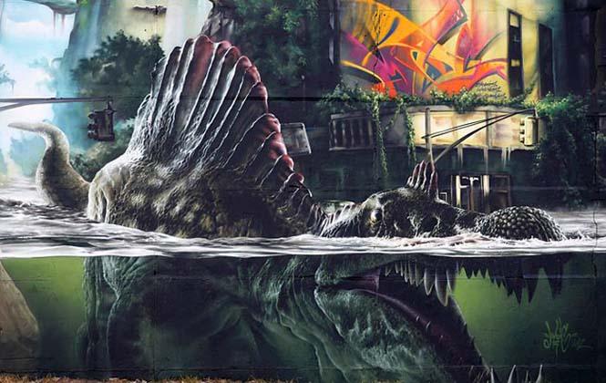 Εντυπωσιακό graffiti Jurassic Park (8)