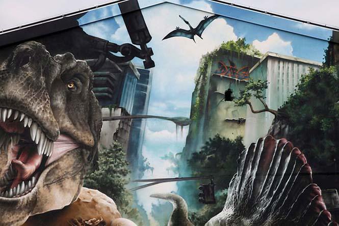 Εντυπωσιακό graffiti Jurassic Park (9)