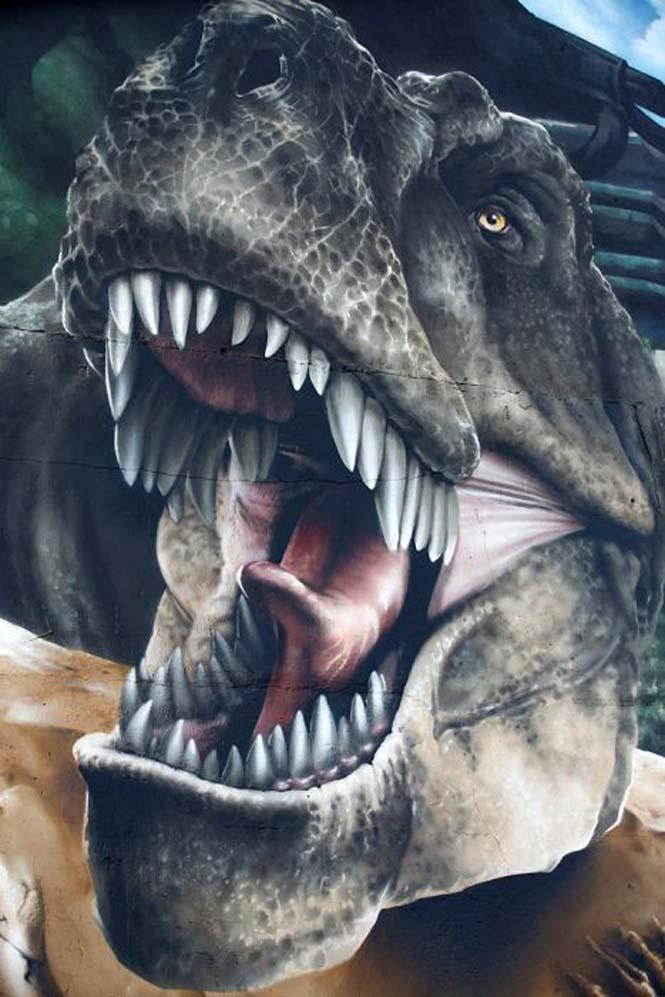 Εντυπωσιακό graffiti Jurassic Park (20)