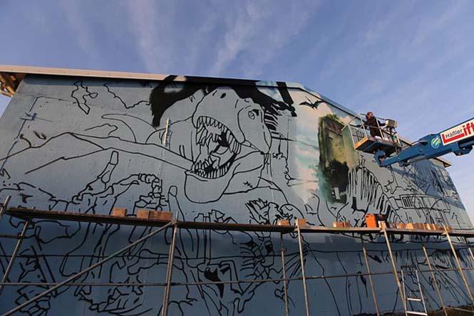 Εντυπωσιακό graffiti Jurassic Park (23)