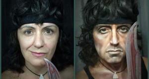 Γυναίκα χρησιμοποιεί το μακιγιάζ για να μεταμορφωθεί σε διάσημους σκληρούς άνδρες