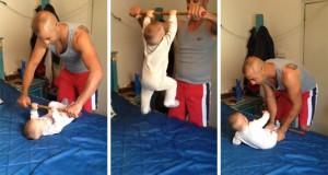 Μωρό 6 μηνών γυμνάζεται με τον μπαμπά (Video)