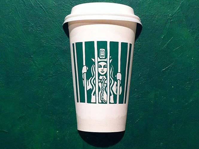 Σκιτσογράφος μετατρέπει τα ποτήρια των Starbucks σε απίθανες δημιουργίες (3)