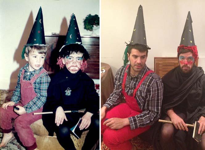Δυο αδέρφια αναπαριστούν παιδικές φωτογραφίες τους για την επέτειο γάμου των γονιών τους (1)