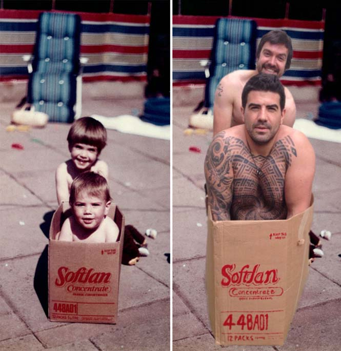 Δυο αδέρφια αναπαριστούν παιδικές φωτογραφίες τους για την επέτειο γάμου των γονιών τους (2)