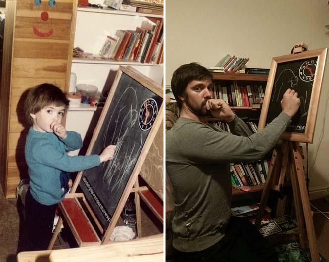 Δυο αδέρφια αναπαριστούν παιδικές φωτογραφίες τους για την επέτειο γάμου των γονιών τους (5)