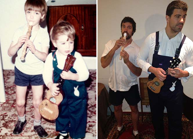 Δυο αδέρφια αναπαριστούν παιδικές φωτογραφίες τους για την επέτειο γάμου των γονιών τους (6)