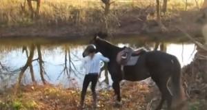 Η απίθανη αντίδραση ενός αλόγου που συνάντησε νερό για πρώτη φορά (Video)