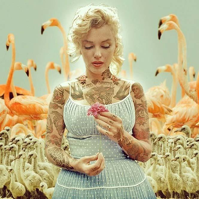 Καλλιτέχνης φαντάζεται τους διάσημους με τατουάζ χρησιμοποιώντας το Photoshop (10)
