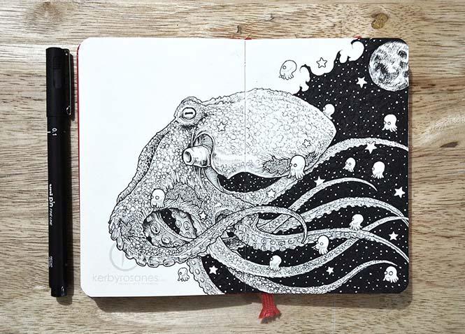 Περίτεχνα σκίτσα με στυλό από τον Kerby Rosanes (1)