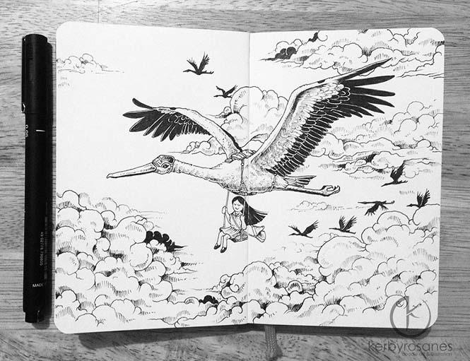 Περίτεχνα σκίτσα με στυλό από τον Kerby Rosanes (5)