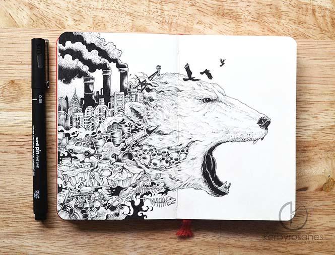 Περίτεχνα σκίτσα με στυλό από τον Kerby Rosanes (8)