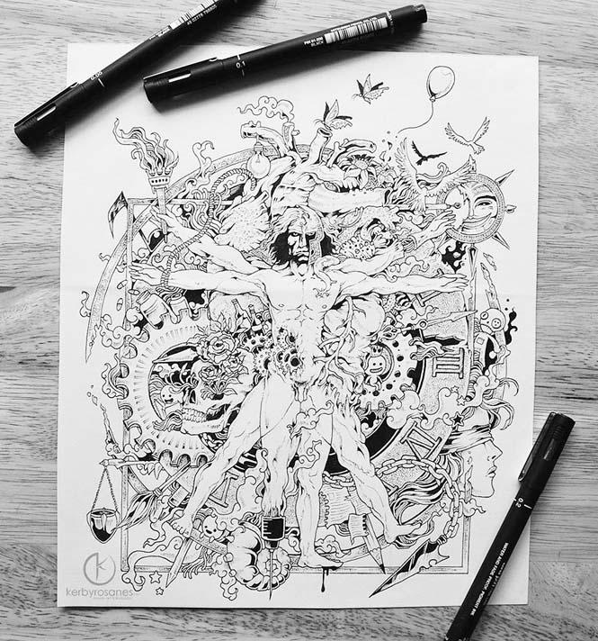 Περίτεχνα σκίτσα με στυλό από τον Kerby Rosanes (10)