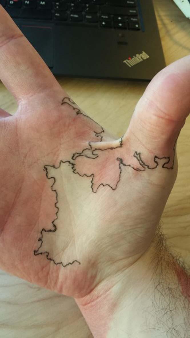 Άνδρας μετέτρεψε το εκ γενετής σημάδι του σε χάρτη ενός φανταστικού κόσμου (3)