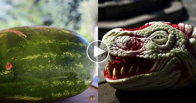 Καλλιτέχνης μετέτρεψε καρπούζι σε κεφάλι δράκου