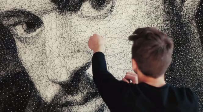 Καλλιτέχνης τύλιξε 24 χιλιόμετρα νήματος γύρω από 13.000 καρφιά για να δημιουργήσει κάτι εκπληκτικό (9)
