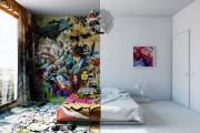 Designer δημιούργησε δωμάτιο ξενοδοχείου μισό άσπρο - μισό γεμάτο με graffiti (1)