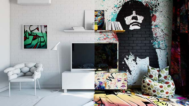 Designer δημιούργησε δωμάτιο ξενοδοχείου μισό άσπρο - μισό γεμάτο με graffiti (2)
