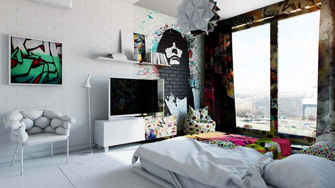 Designer δημιούργησε δωμάτιο ξενοδοχείου μισό άσπρο - μισό γεμάτο με graffiti (3)