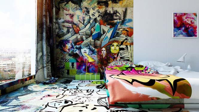 Designer δημιούργησε δωμάτιο ξενοδοχείου μισό άσπρο - μισό γεμάτο με graffiti (4)