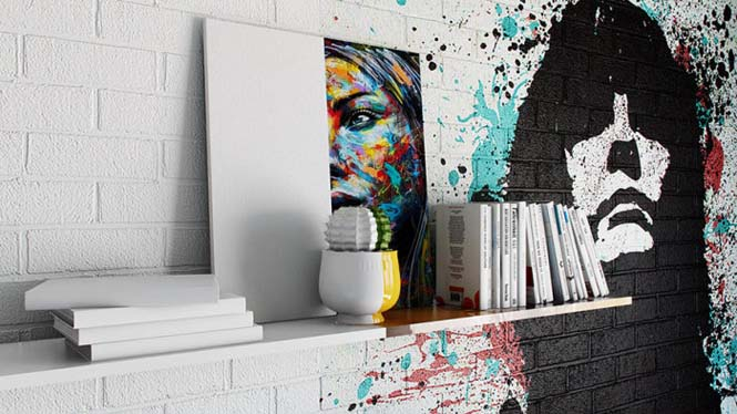 Designer δημιούργησε δωμάτιο ξενοδοχείου μισό άσπρο - μισό γεμάτο με graffiti (5)