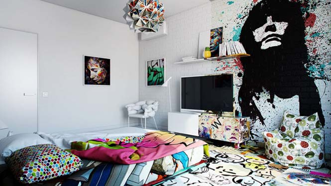 Designer δημιούργησε δωμάτιο ξενοδοχείου μισό άσπρο - μισό γεμάτο με graffiti (6)