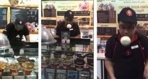 Ένας απίθανος τρόπος σερβιρίσματος παγωτού (Video)