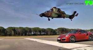 Porsche 911 Turbo S κοντράρεται με 2 ελικόπτερα (Video)