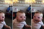 Μωρό δοκιμάζει γυαλιά για πρώτη φορά