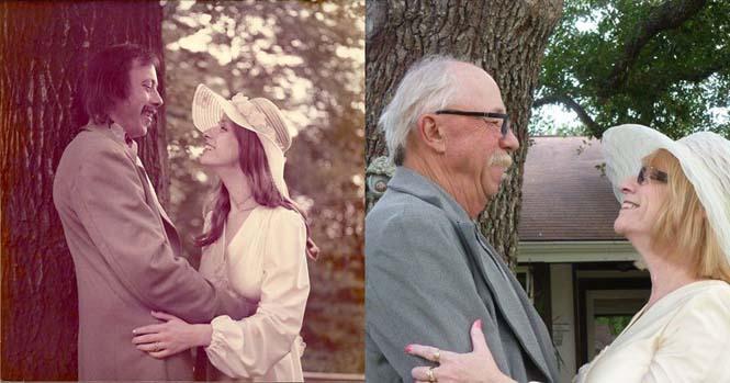 Ζευγάρι γιορτάζει την 40η του επέτειο κάνοντας αναπαράσταση των φωτογραφιών του γάμου τους (6)