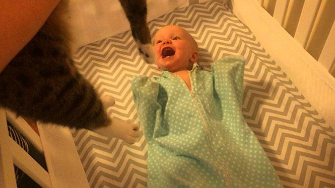 Η απίθανη αντίδραση ενός μωρού όταν βλέπει για πρώτη φορά μια γάτα