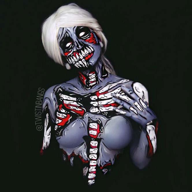 Bodypainter μεταμορφώνει τον εαυτό της σε όμορφους εφιάλτες (14)