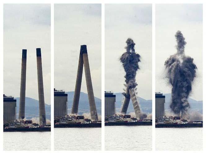 Ελεγχόμενη έκρηξη έκανε δυο φουγάρα 150 μέτρων να συγκρουστούν μεταξύ τους και να καταρρεύσουν με απόλυτη ακρίβεια (5)