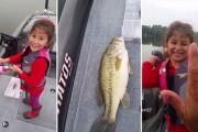 Κοριτσάκι πιάνει μεγάλο ψάρι με καλάμι ψαρέματος της Barbie