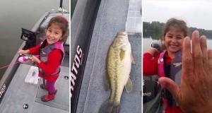 Κοριτσάκι πιάνει μεγάλο ψάρι με καλάμι ψαρέματος της Barbie (Video)