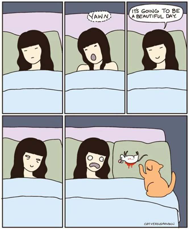 Χιουμοριστικά κόμικς δείχνουν πως είναι να έχεις γάτα (5)