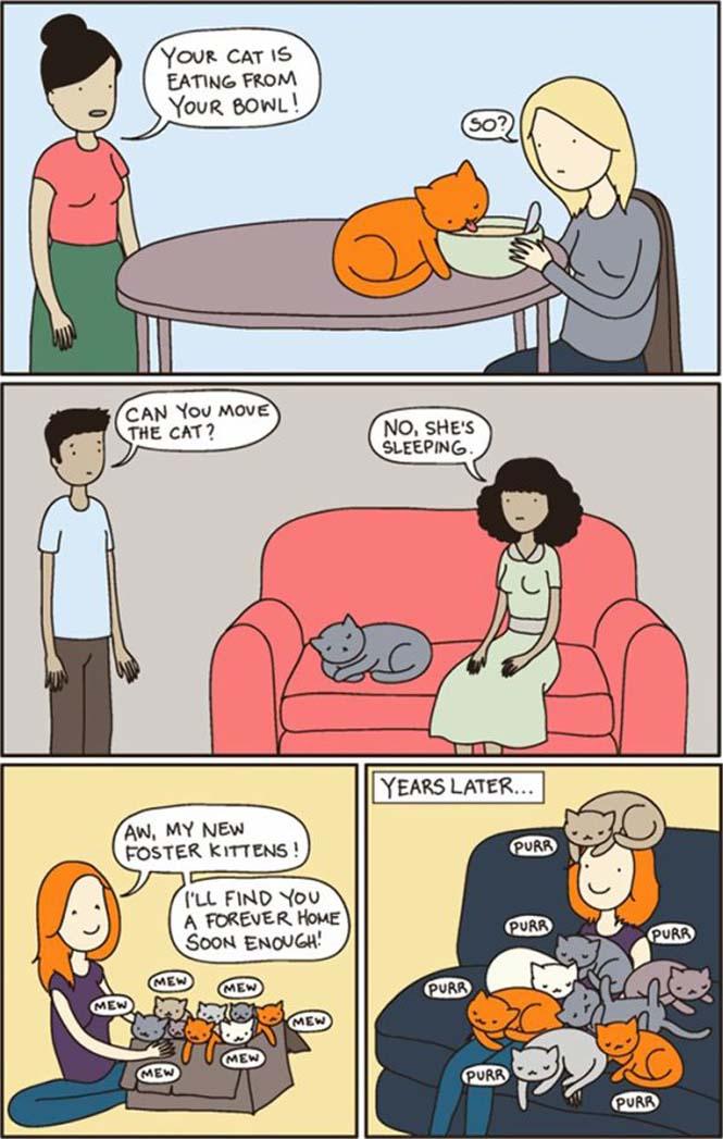 Χιουμοριστικά κόμικς δείχνουν πως είναι να έχεις γάτα (13)