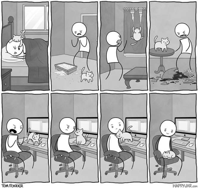 Χιουμοριστικά κόμικς δείχνουν πως είναι να έχεις γάτα (14)